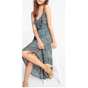 EXPRESS sexy ruffle front high low maxi dress